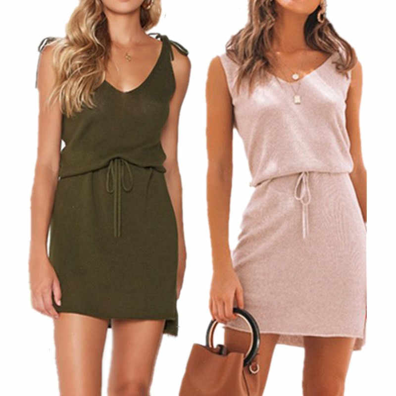 Summer Solid Strap Mini Dress Sexy V  Neck Sleeveless Backless Women's Slim Lace Up Pink Army Green Dress Basic Bodycon Dresses