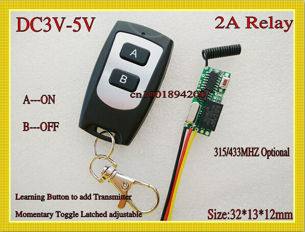 RF Remote Control Switch System Mini Small Volume DC3-5V Receiver 315/433MHZ Waterproof Transmitter A ON B OFF Micro 3v 5v Relay dc 3 5v 12v mini relay 2 receiver