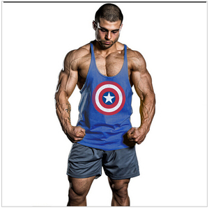 Super Hero Captain America brand clothing Singlets Mens Tank Top Muscle Shirt Sleeveless Stringer Bodybuilding Fitness mens Vest