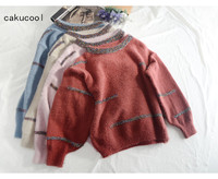 Cakucool New Gold Lurex Sweaters Cute Vintage Bling Shiny Knit Pullover Christmas Loose Korean Sweet Jumper Sweater Femme Mujer