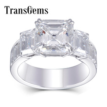 TransGems Solid 18K White Gold 10mm Asscher Cut GH Color Moissanite Engagement Ring for Women with Emerald Cut Accents