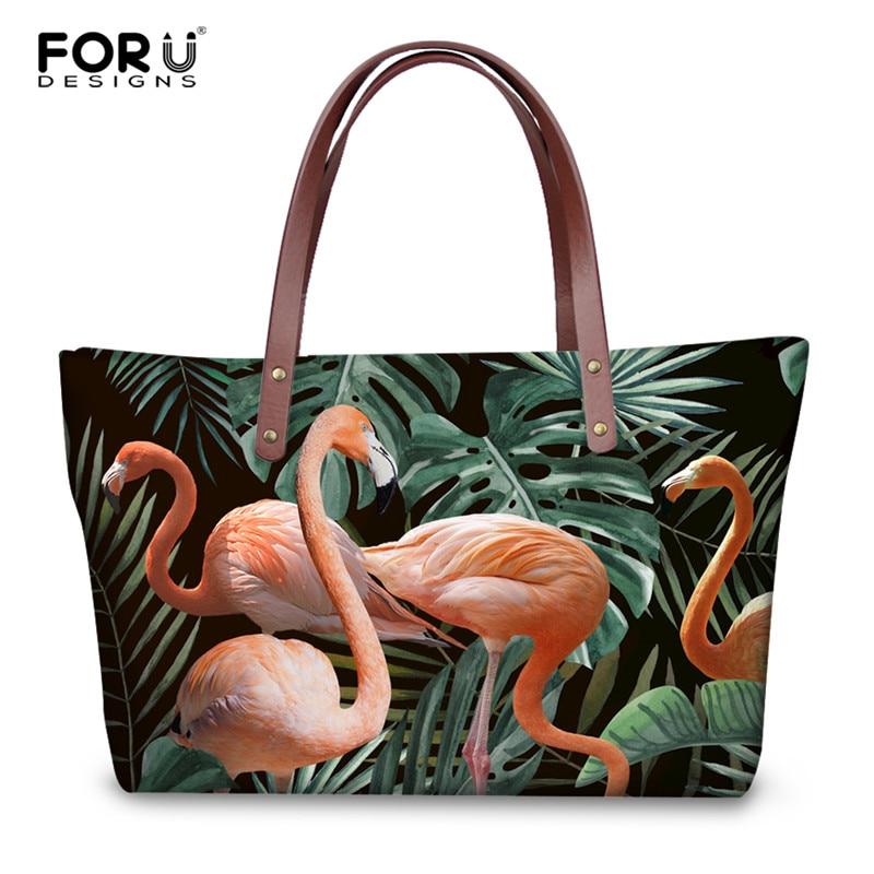 все цены на FORUDESIGNS 3D Flamingos Floral Print Handbags Women Luxury Design Tote Bags Animal Shoulder Bag for Female Large Beach Handbag онлайн
