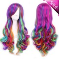 "Fashion Women 28"" long curly synthetic hair anime cosplay wig rainbow color ,kanekalon fibre cabelo sintetico"