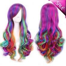 Fashion Women 28″ long curly synthetic hair anime cosplay wig rainbow color ,kanekalon fibre cabelo sintetico