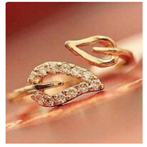 nj3 2016 new (gold) two anti-drilling leaves retro Korean female couple rings je