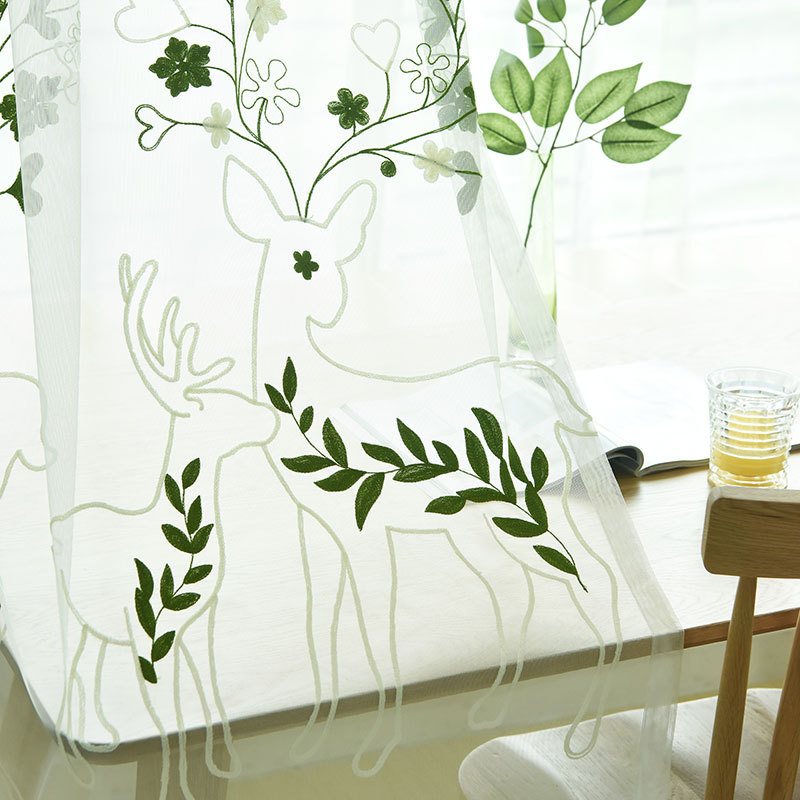 Modern Green Embroidered Tulle Curtains For Living Room Deer Leaf Sheer Curtain For Bedroom Window Treatments Decorative Curtain