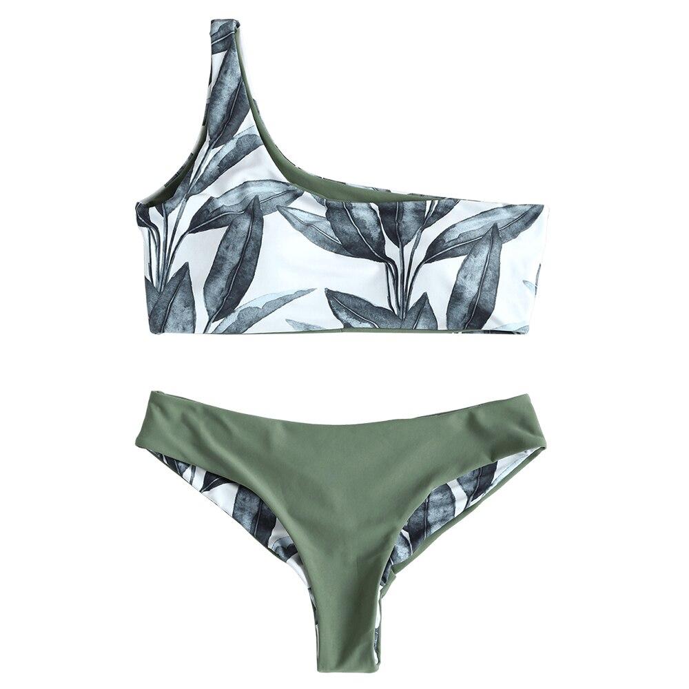 2f27639ff7a0 ZAFUL un hombro hojas Bikini estampado Sexy traje de baño Push Up traje de  baño ropa de playa para mujer