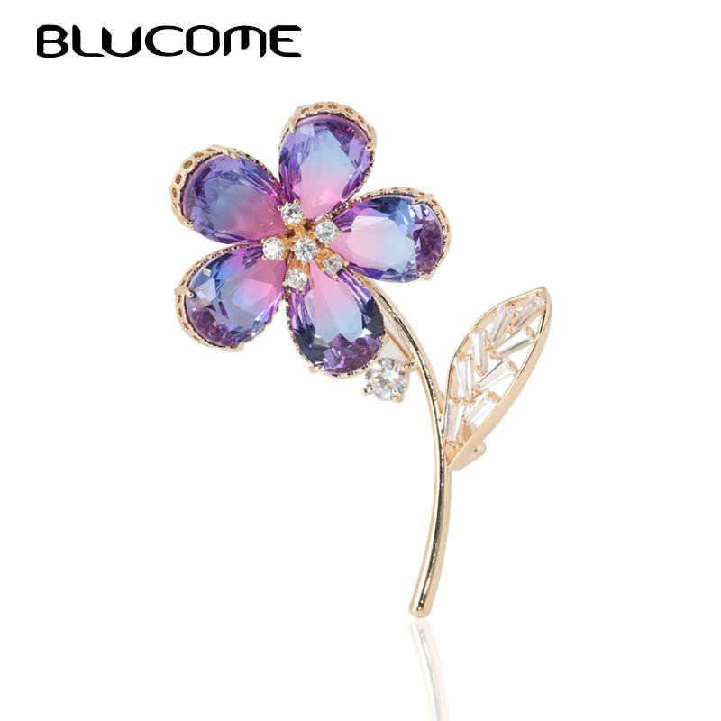 Blucome Grande Marquise Rosa Zircone Del Fiore Spille Per Le Donne Gli Uomini di colore Dell'oro del Vestito Spilla Accessorio di Cerimonia Nuziale pins Gioielli
