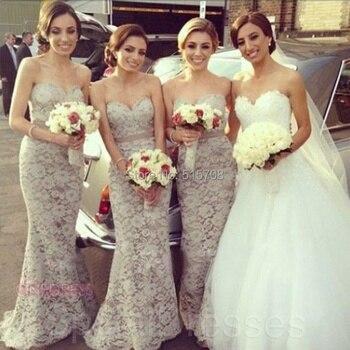 Beautiful Mermaid Sweetheart Sleeveless Gray Lace Bridesmaid Dresses Long  Prom Wedding Party Dresses  New Design Hot Sale