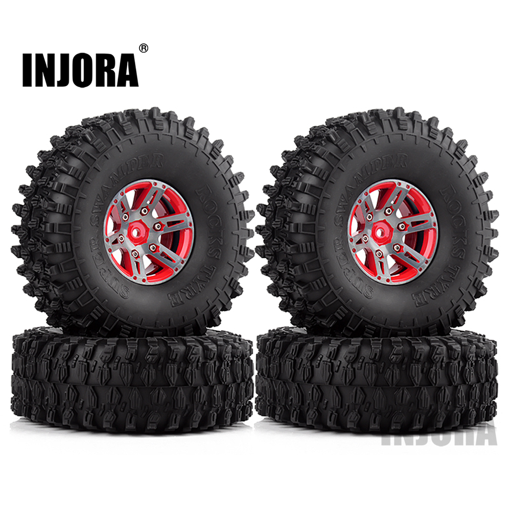 "Image 2 - INJORA 4Pcs 1.9"" Beadlock Wheel Rim & 1.9 Rubber Tires Set for 1/10 RC Crawler Axial SCX10 90046 RC Car Parts-in Parts & Accessories from Toys & Hobbies"