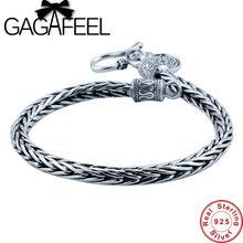 GAGAFEEL Auténticos 100% de Plata de ley 925 Brazaletes de la Pulsera de Los Hombres para el Estilo Punky Quilla Forma Hombres Joyería Fina Envío de La Gota