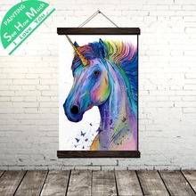 Unicorn Abstract Painting Scroll Canvas Vintage Poster and Prints Wall Art Pictures Bedroom Farmhouse Decoration