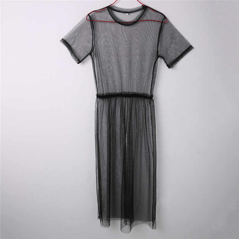9fa8489b63fa Summer Style Sexy Women See-through Mesh Dress Long Maxi Dresses Solid  Short Sleeve Round