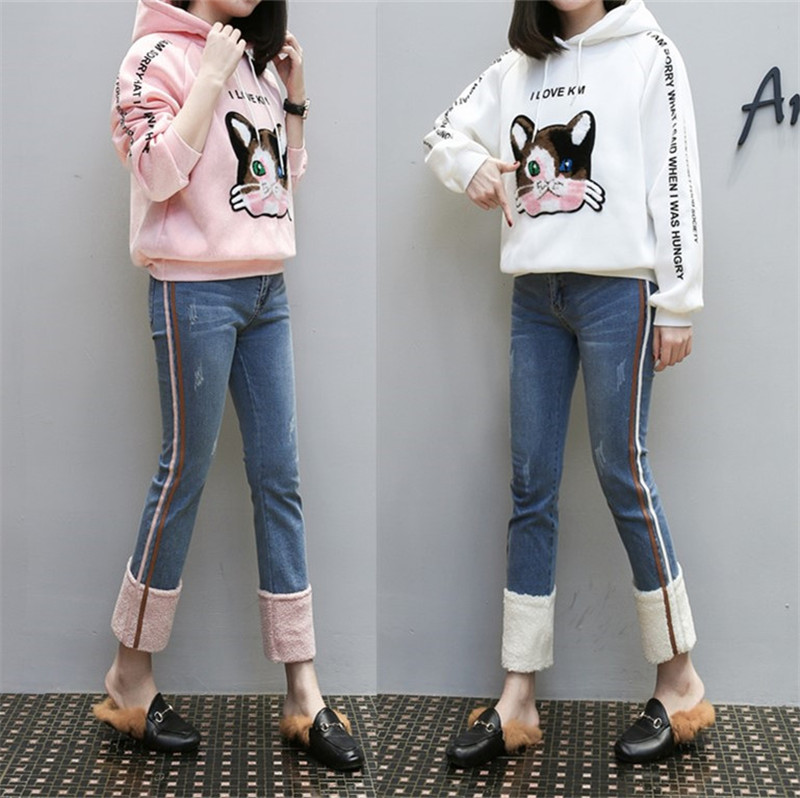 MUMUZI New High Waist Warm Fleece   Jeans   Female Sheepskin Worn Feet Vintage ue Straight Pants Women   Jeans   Denim Trousers