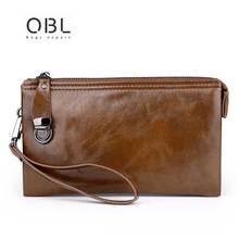 Men Oil Wax PU Leather Wallets Purse Money Bag  Men Clutch Wallet Male Wrist Strap Handbags Cell/Mobile Phone Holder Wallet