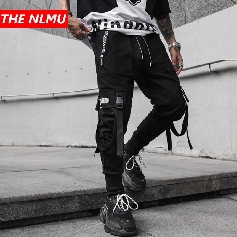 男性マルチポケット弾性ウエストデザインハーレムパンツ男性ストリートパンクヒップホップカジュアルリボンズボンジョギング男性パンツ GW177  グループ上の メンズ服 からの ハーレムパンツ の中 1
