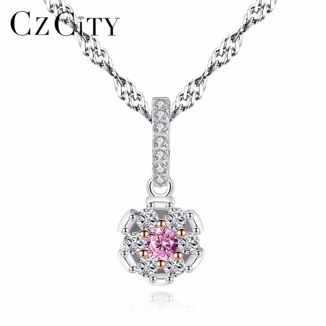 CZCITY Fashion Flower Shape Pendant Pink Crystal Zircon Stone for Women Elegant