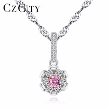 CZCITY Vintage Flower Shape Pink Crystal Zircon Stone Women 925 Silver Two-Color Gold Wedding Pendant Necklace for Women Gift