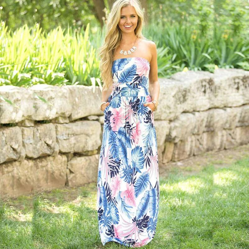 8cc16477472 Boho 2017 Summer Dress Sexy Off Shoulder Floral Print Women s Long Tube Top  Dresses Casual Maxi Dresses Vintage Vestidos Mujer 3-in Dresses from Women s  ...