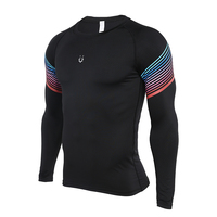 New Men Compression Running Fitness Long Sleeves T Shirts Tight Tops Tees Quick Drying Printed Men