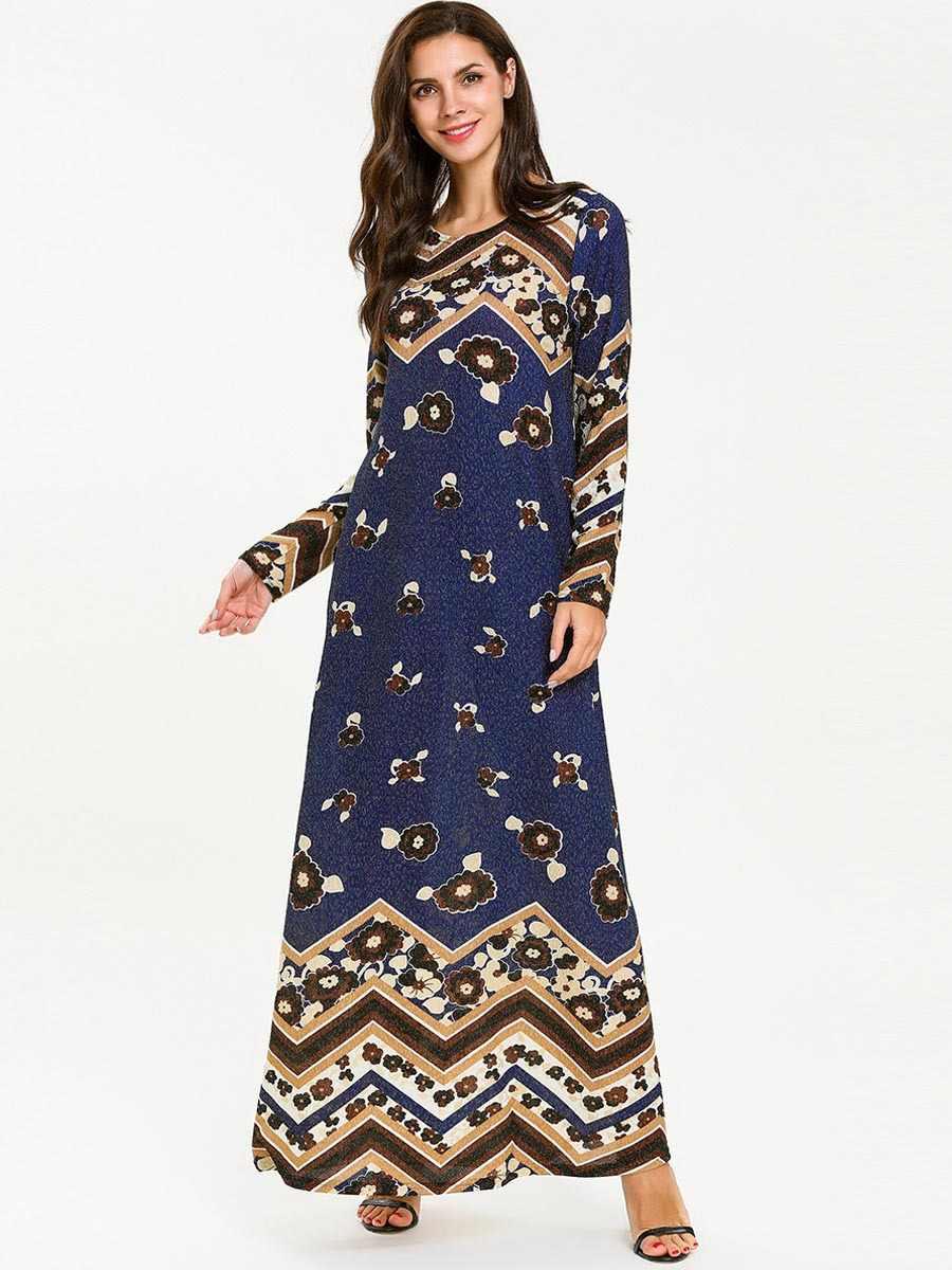 Женский s мусульманский длинный рукав сшивание стрейч вязать печатных тонкий Дубай, кафтан, Исламский женщины одевают одежду 7723 #