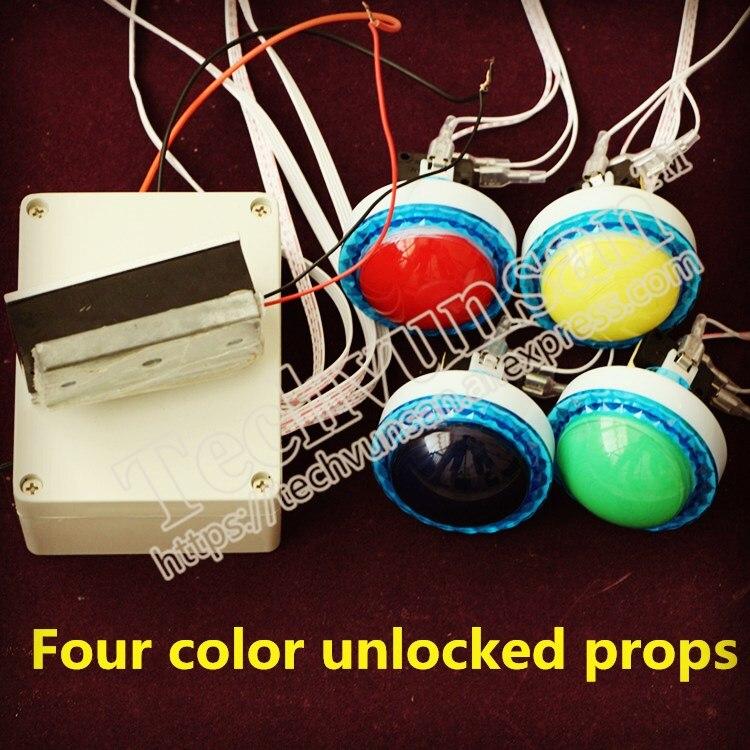 Accessoires de salle d'évasion salle des secrets humains quatre couleurs débloquer couleur bureau quatre couleurs clé déverrouillage mécanisme Bar fête