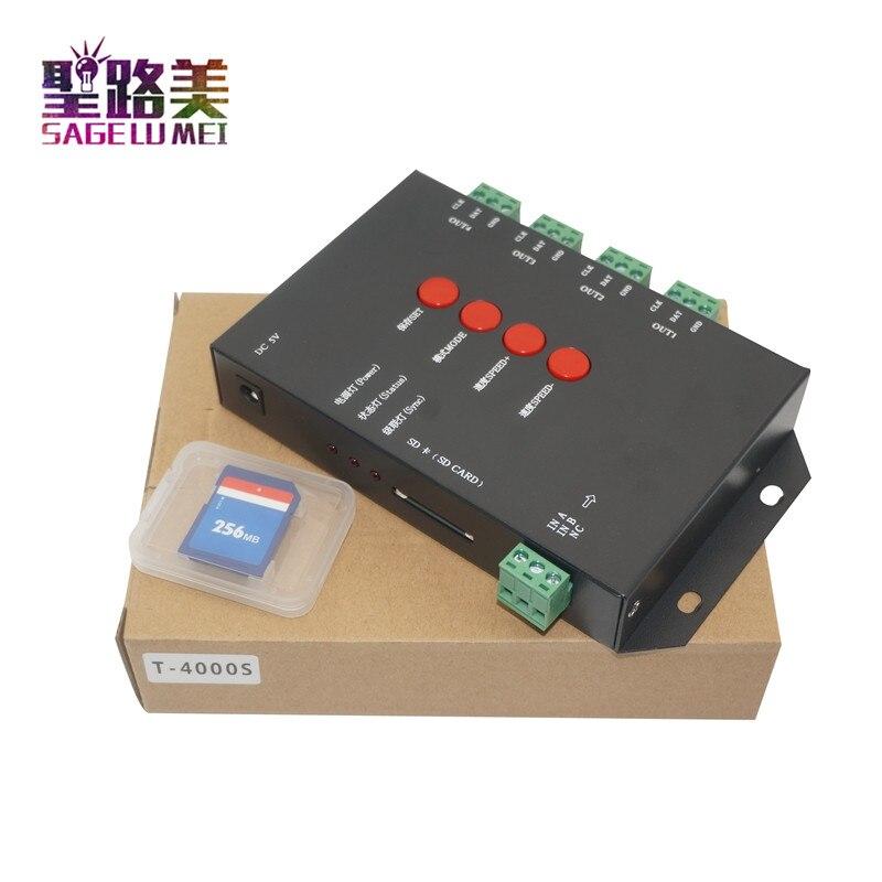 En gros 1 pièces T4000S LED RVB Contrôleur Configurable Carte SD DC5V sk6812 WS2812B WS2811 WS2801 LP6803 LED numérique bandes de pixel