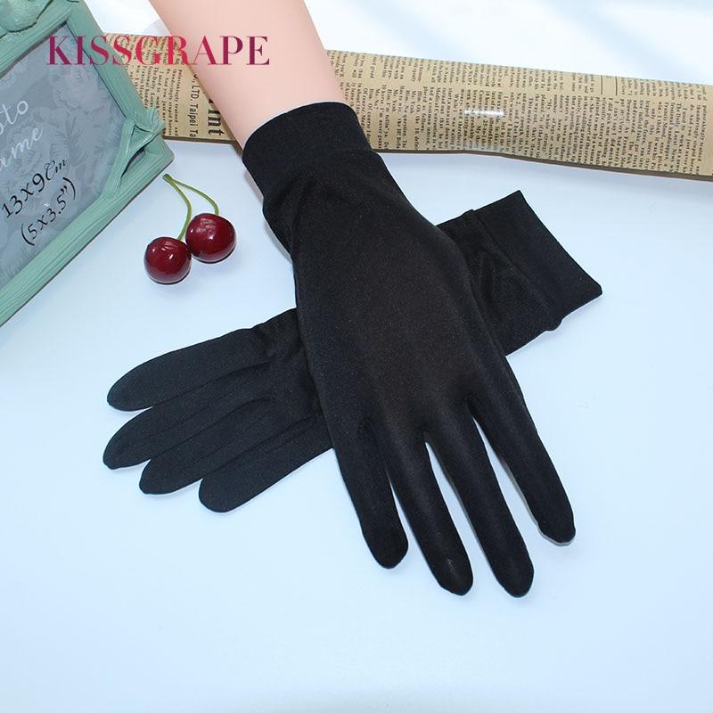 100% Real Silk Women's Sunscreen Gloves Summer Female Driving Gloves Anti-UV Outdoor Mittens Guantes Black Thin Anti-slip Gloves