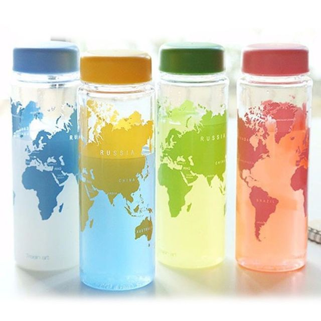 Fashion Water Bottle Fruit Juice Sport Portable Travel  PC Map Bottles for Water500ml Plastic bottles