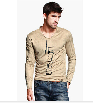 075eac6e46ab Men cotton T shirt arrival ,Suede feel V neck with full sleeve,casual top  for fashionable men 2033-in T-Shirts from Men's Clothing on Aliexpress.com  ...