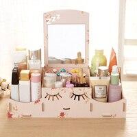Smiley Face DIY Wooden Storage Box Desk Makeup Cosmetic Box Jewelry Storage Case Organizer With Mirror