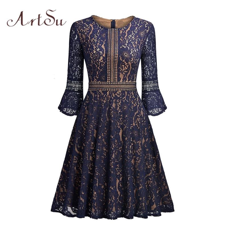 ArtSu Lace Party Midi Dresses Women Vintage Three Quarter Sleeve Winter Spring Overlay Evening Ball Gown Dress Vestido ASDR30510