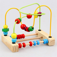 Baby Learning Early Education Wooden Maze Multi Function Box Round Bead Slide Puzzle Roller Coaster Toys