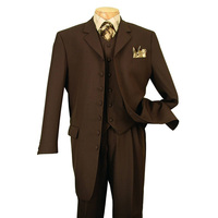 Men's 3 piece 7 Button Peak Lapel Man Suits Big and Tall Long Pattern Suits Brown For Party Fashion Tuxedos Men Suits