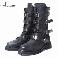 Mabaiwan 2018 Fashion Black Women Snow Ankle Boots Genuine Leather Shoes Women Flats Booties Straps Design