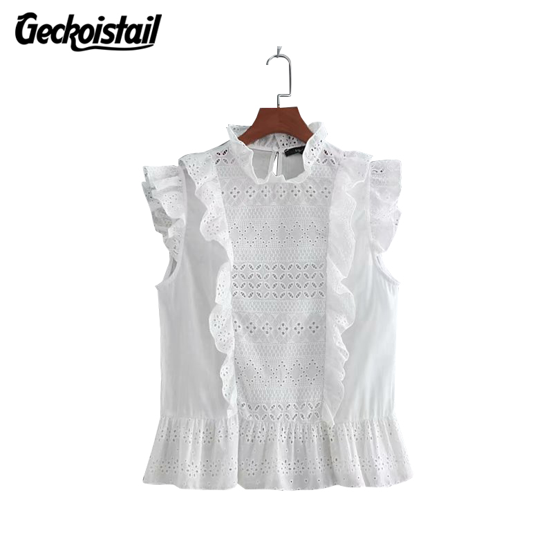 Geckoistail Women Summer Ruffles Fashion Lace Blouses and Top 2018 Lady Hollow Out Short Sleeve White Shirt blusas clothes