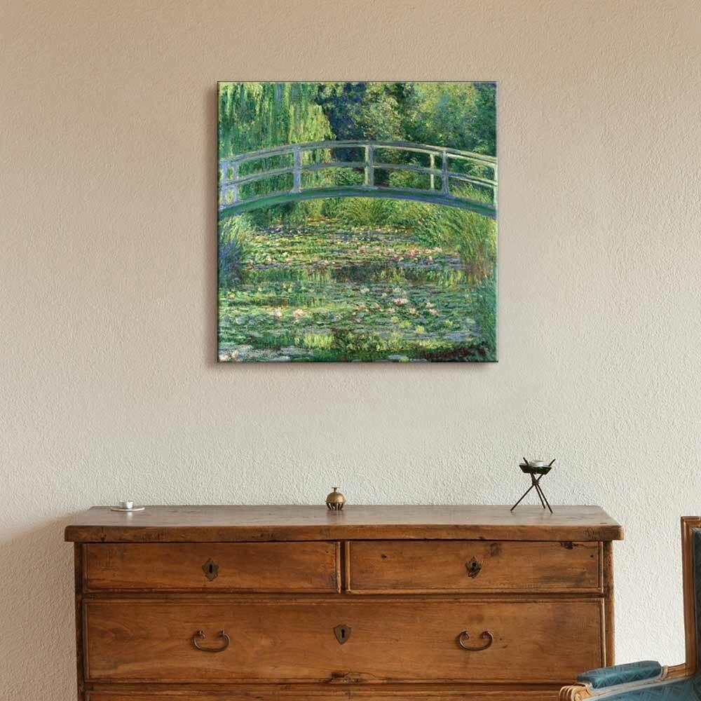 Claude Monet peinture à l'huile à la main Reproduction du pont japonais et de l'étang de nénuphar toile Art mural pour la décoration de bureau à la maison