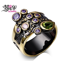 DC1989 S Special Lady Party Rings Unique Black Gold Plated Made With AAA Cubic Zirconia Bezel