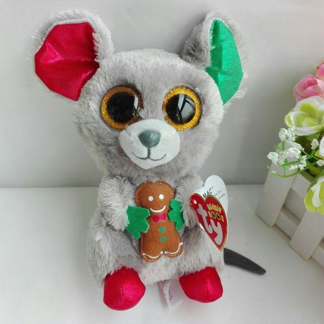 "MAC MOUSE TY BEANIE BOOS 1PC 15CM 6"" BIG EYE Plush Toys Stuffed animals KIDS TOYS GIFT CHILDREN GIFT Decor"