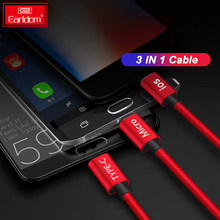 EARLDOM Fast Charging Type C Cable for Samsung S8 S9 Note 9 3 in 1 Micro 8 Pin USB Cable for iPhone X 8 7 6 Plus Nylon Weave(China)