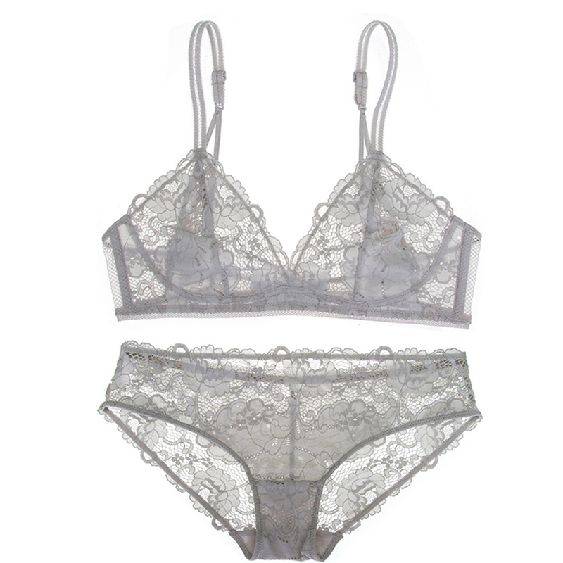 e2583296b3 Shaonmeiwu New sexy no steel ring lingerie thin lace bra comfortable  breathable no sponge gray bra-in Bra   Brief Sets from Underwear    Sleepwears on ...