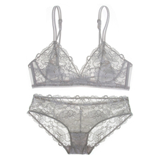 Shaonmeiwu New sexy no steel ring lingerie thin lace bra comfortable breathable sponge gray