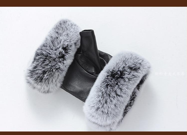 цена на Winter Fashion Brand Famous Celebrities Women Genuine Leather Gloves Real sheepskin Rabbit Fur Fingerless Gloves Baby Female