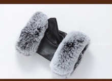 Winter Fashion Brand Famous Celebrities Women Genuine Leather Gloves Real sheepskin Rabbit Fur Fingerless Baby Female
