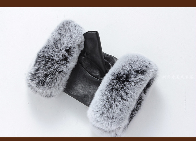 Winter Fashion Brand Famous Celebrities Women Genuine Leather Gloves Real sheepskin Rabbit Fur Fingerless Gloves Baby Female