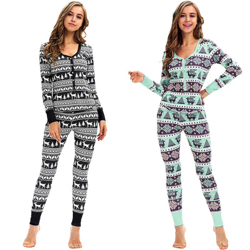 Adult Women Santa X-mas Elk Snow Print Pajamas Set Top Long Pants Sleepwear Nightwear Sleep Lounge Button Up pjs Wear For Ladies