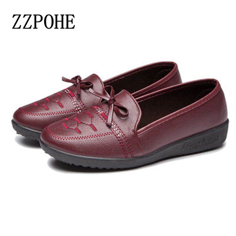 ZZPOHE 2017 Autumn new mom soft bottom non-slip singles shoes large size women shoes casual fashion comfortable flat shoes siketu sweet bowknot flat shoes soft bottom casual shallow mouth purple pink suede flats slip on loafers for women size 35 40