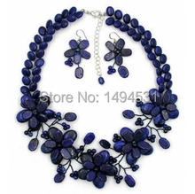 New Arriver Fashion Flower Jewelry Lapis Lazuli And Freshwater Pearl Wrap Flower Necklace Jewelry For Wedding Jewelry