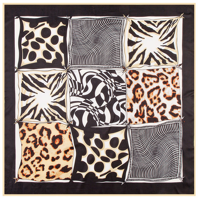 6ac178d4a3e7b 100   100 new 2017 high quality Muslim headscarf Leopard grain wave point  geometric nine grid lady twill silk large square scarf