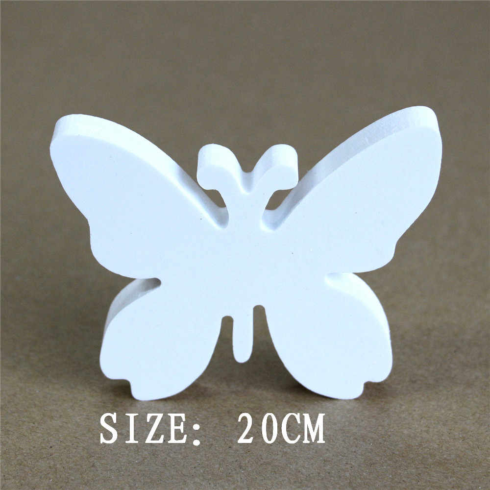 20cm Artificial Wooden white Letters Butterfly crown heart ring Digital Number for Wedding Decorations Sign Table Present gifts